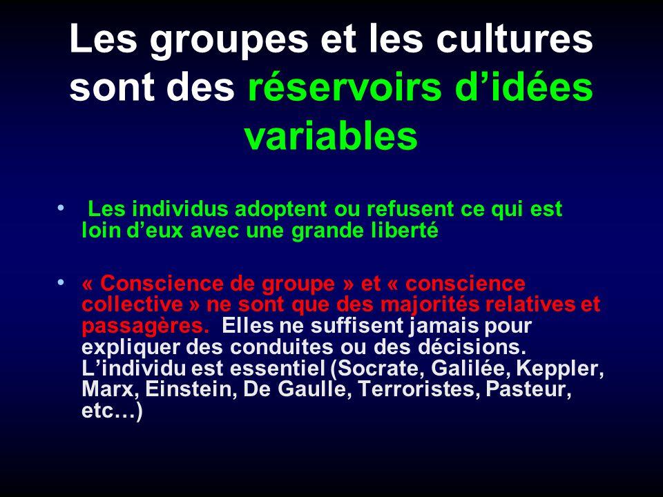 Les groupes et les cultures sont des réservoirs d'idées variables
