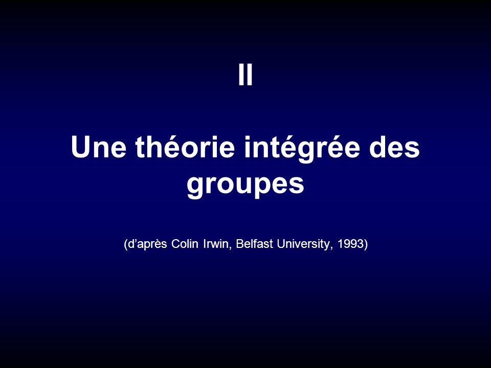 II Une théorie intégrée des groupes (d'après Colin Irwin, Belfast University, 1993)