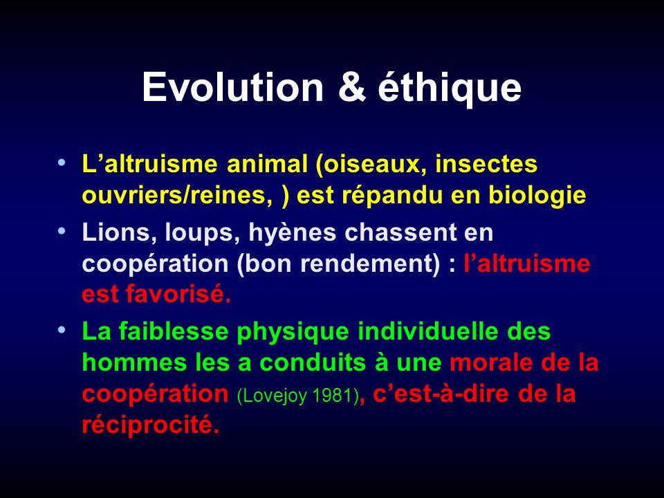 Evolution & éthique L'altruisme animal (oiseaux, insectes ouvriers/reines, ) est répandu en biologie.