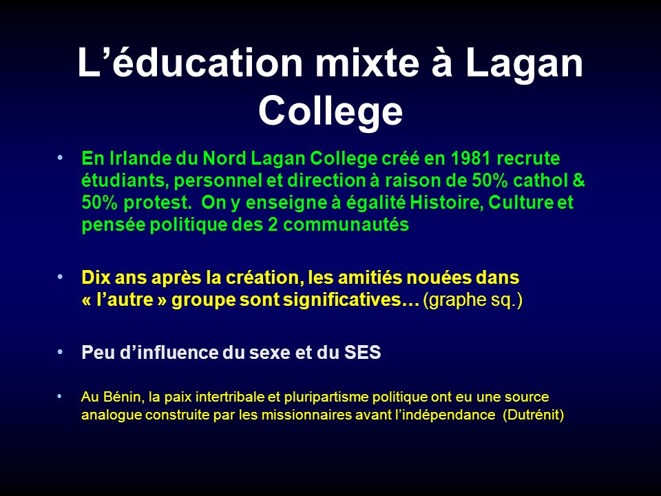 L'éducation mixte à Lagan College