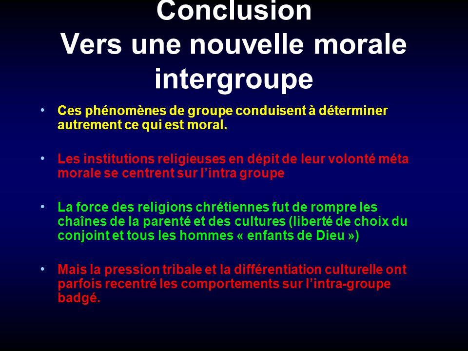 Conclusion Vers une nouvelle morale intergroupe