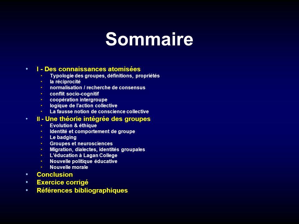 Sommaire I - Des connaissances atomisées Conclusion Exercice corrigé