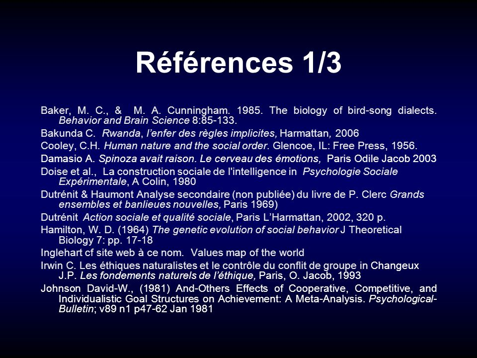 Références 1/3 Baker, M. C., & M. A. Cunningham. 1985. The biology of bird-song dialects. Behavior and Brain Science 8:85-133.
