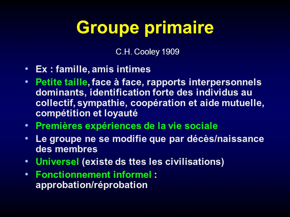 Groupe primaire C.H. Cooley 1909