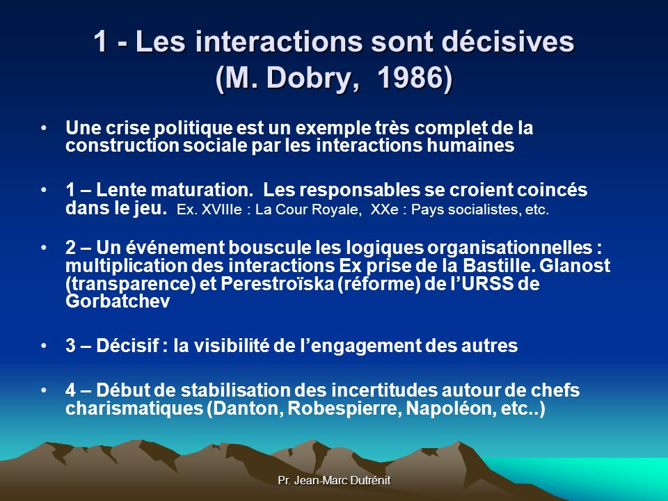 1 - Les interactions sont décisives (M. Dobry, 1986)