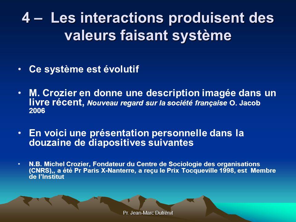 4 – Les interactions produisent des valeurs faisant système