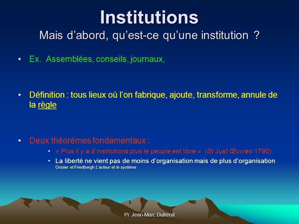 Institutions Mais d'abord, qu'est-ce qu'une institution