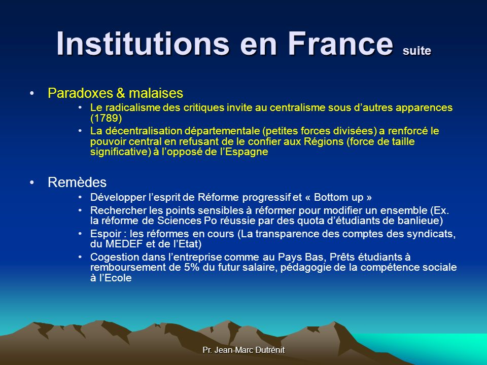 Institutions en France suite