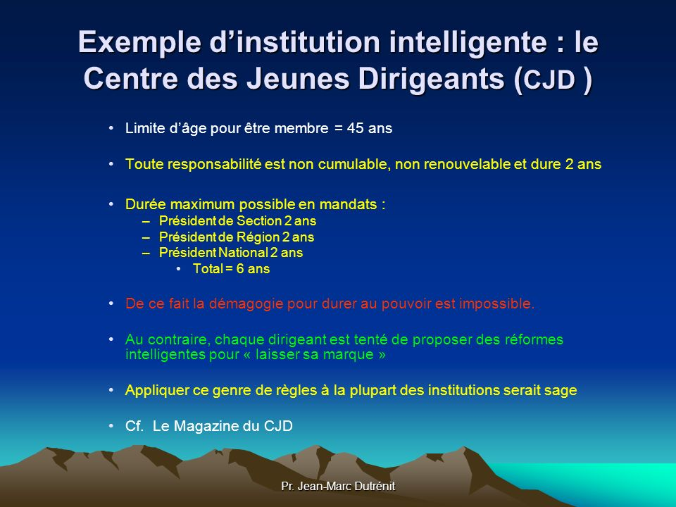 Exemple d'institution intelligente : le Centre des Jeunes Dirigeants (CJD )