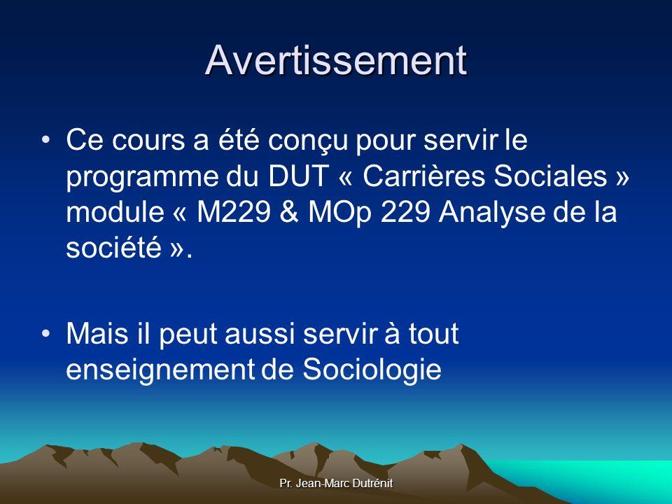 Avertissement Ce cours a été conçu pour servir le programme du DUT « Carrières Sociales » module « M229 & MOp 229 Analyse de la société ».