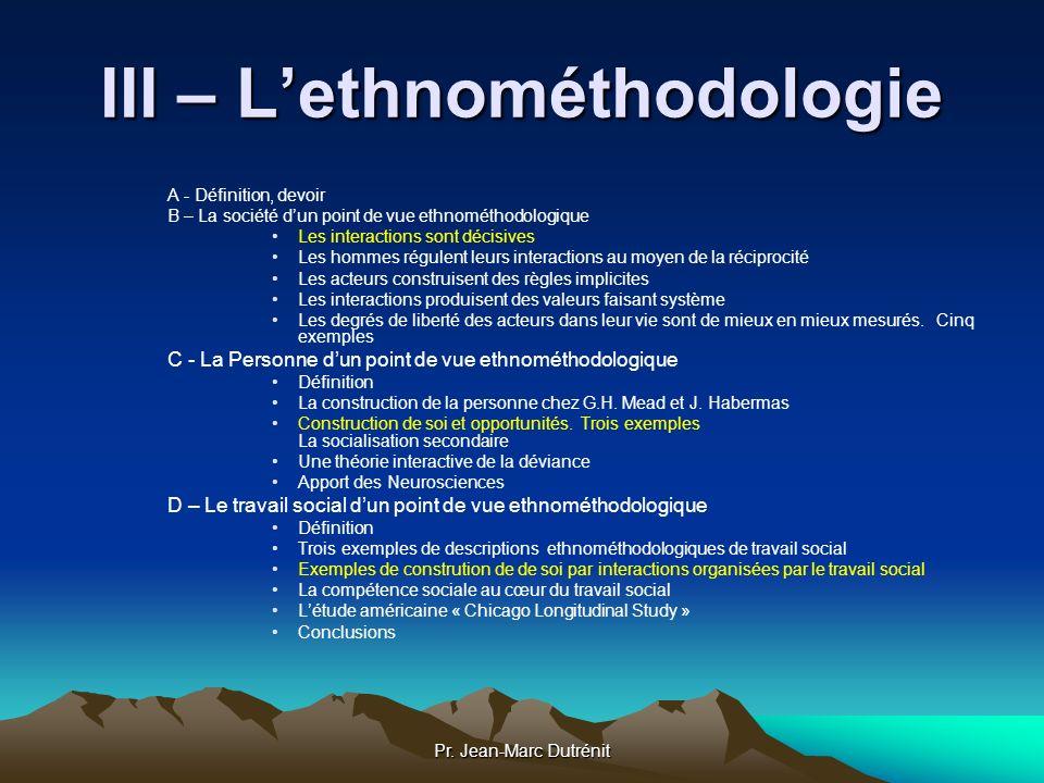 III – L'ethnométhodologie