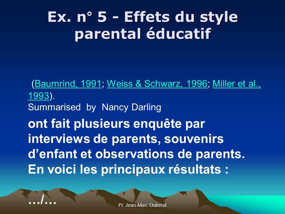 Ex. n° 5 - Effets du style parental éducatif