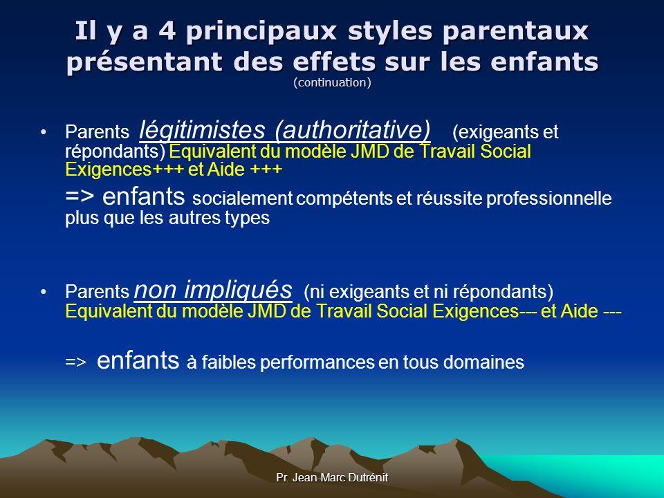 Il y a 4 principaux styles parentaux présentant des effets sur les enfants (continuation)