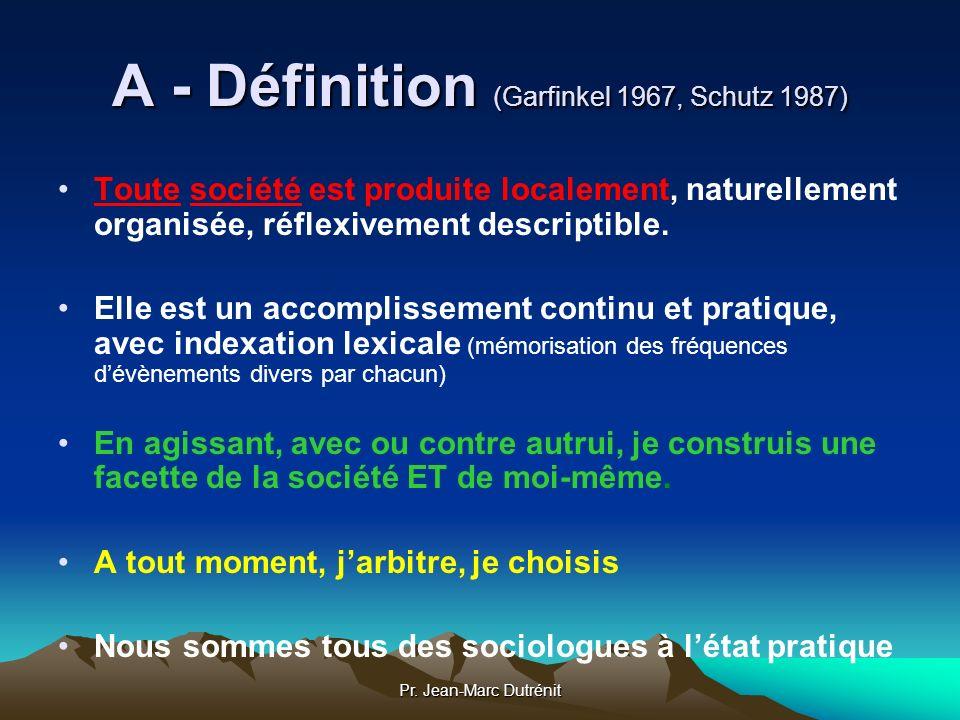 A - Définition (Garfinkel 1967, Schutz 1987)