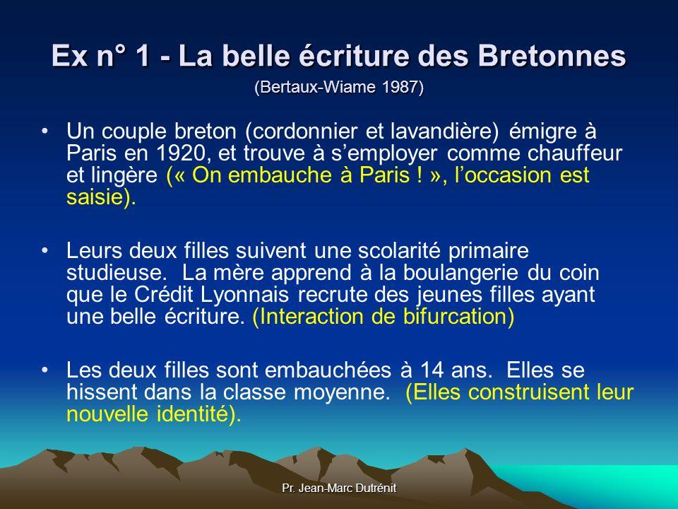 Ex n° 1 - La belle écriture des Bretonnes (Bertaux-Wiame 1987)