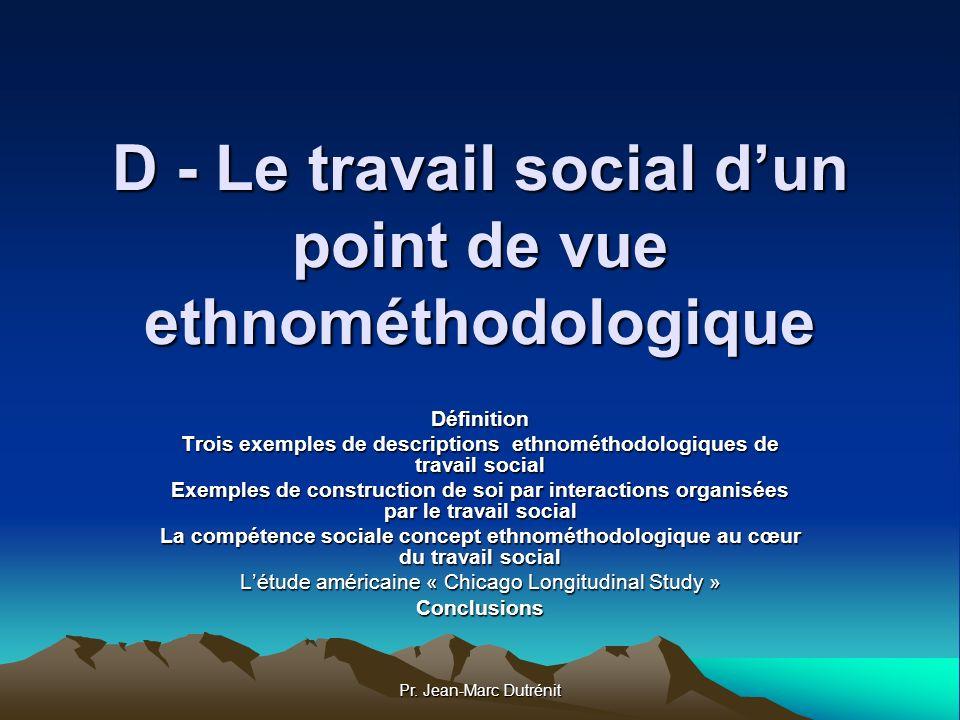D - Le travail social d'un point de vue ethnométhodologique