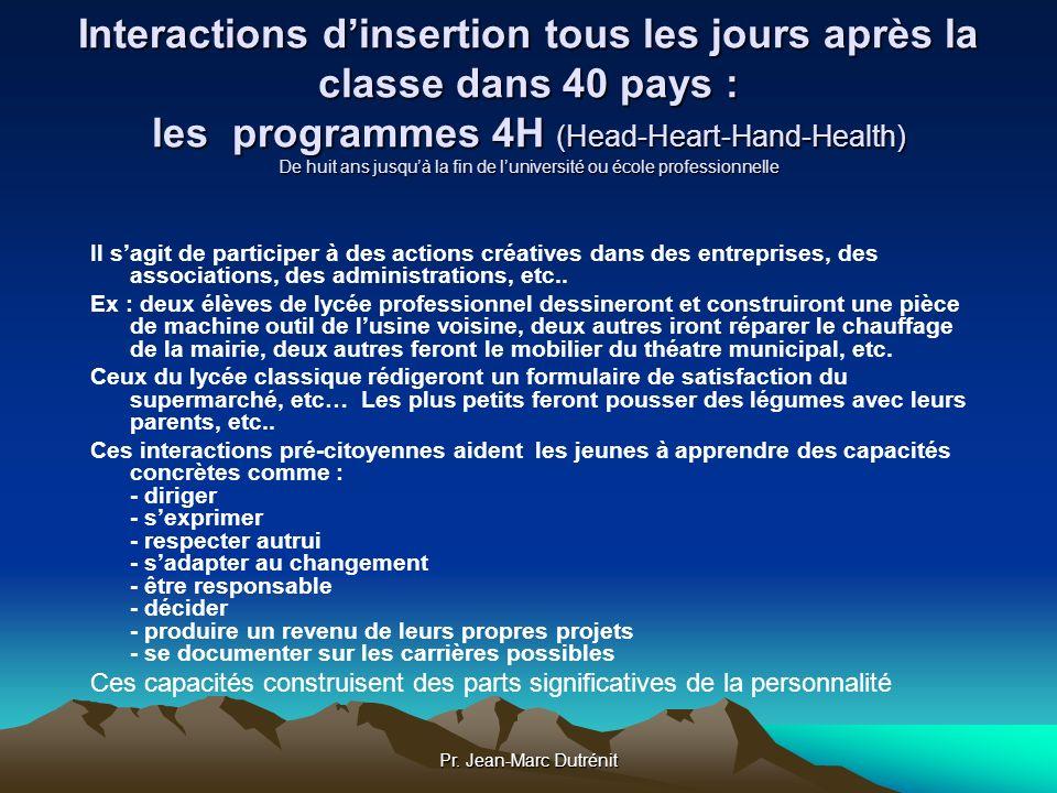 Interactions d'insertion tous les jours après la classe dans 40 pays : les programmes 4H (Head-Heart-Hand-Health) De huit ans jusqu'à la fin de l'université ou école professionnelle