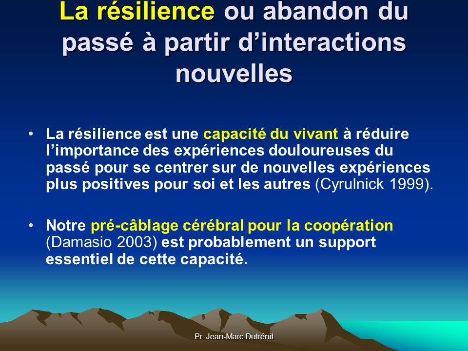La résilience ou abandon du passé à partir d'interactions nouvelles
