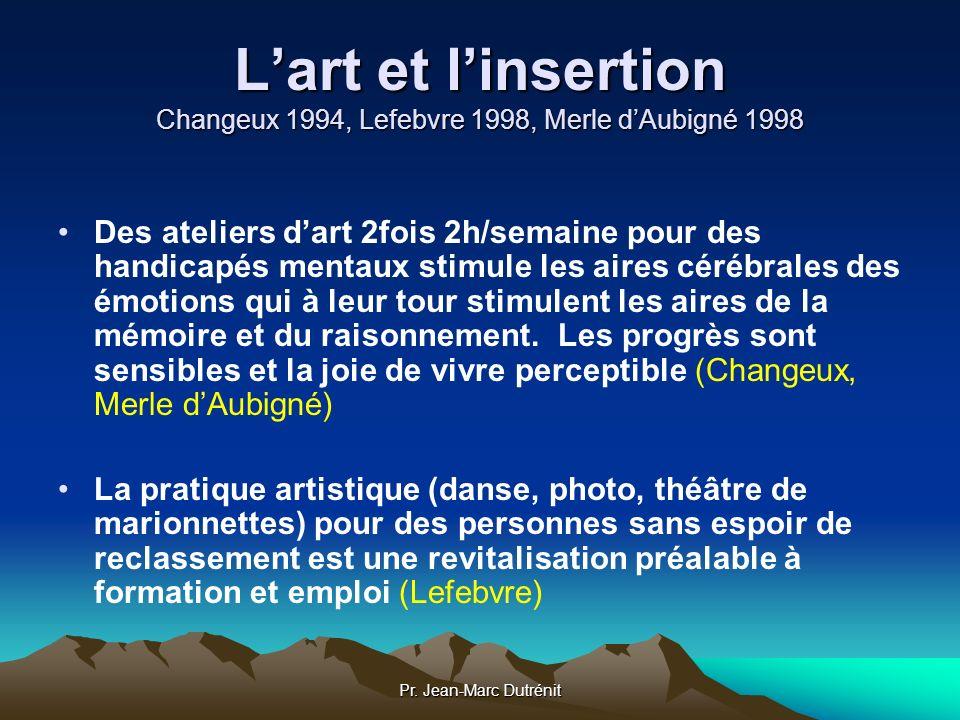L'art et l'insertion Changeux 1994, Lefebvre 1998, Merle d'Aubigné 1998
