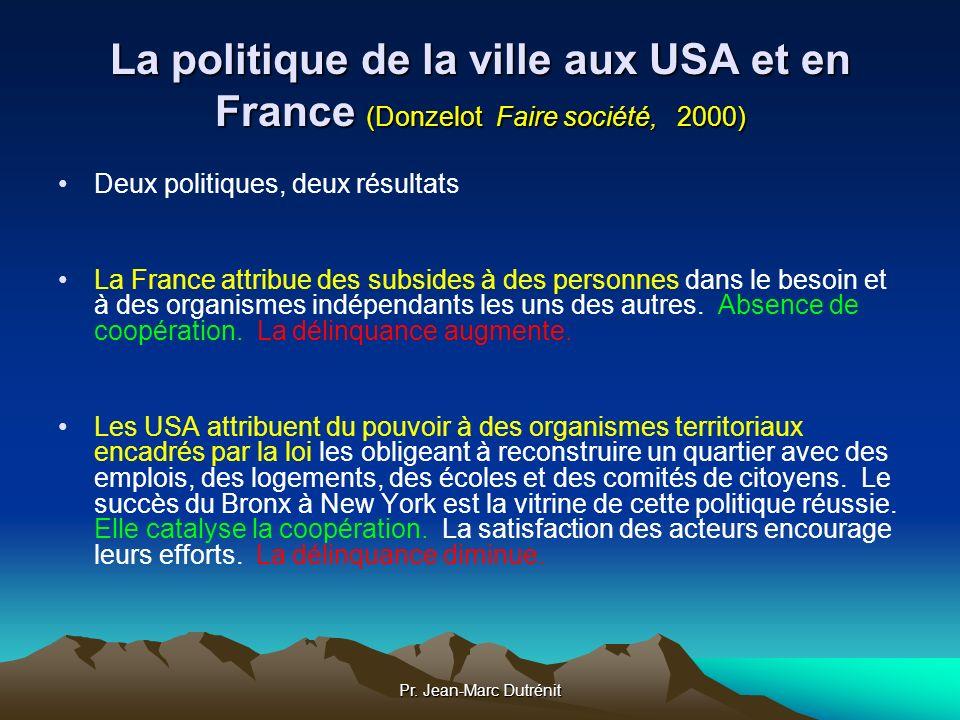La politique de la ville aux USA et en France (Donzelot Faire société, 2000)