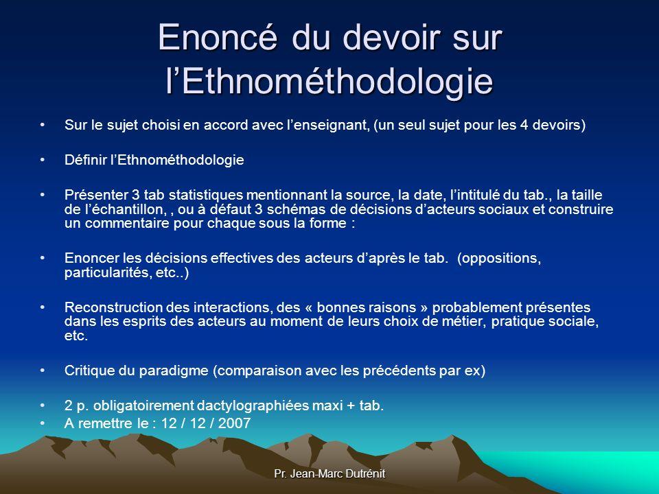 Enoncé du devoir sur l'Ethnométhodologie