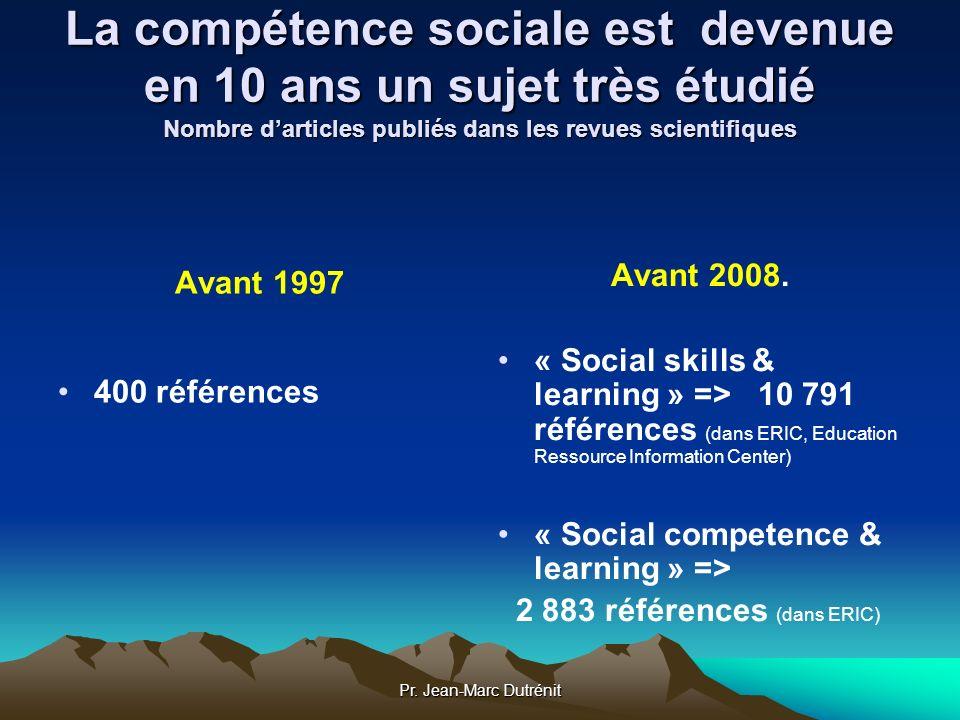 La compétence sociale est devenue en 10 ans un sujet très étudié Nombre d'articles publiés dans les revues scientifiques