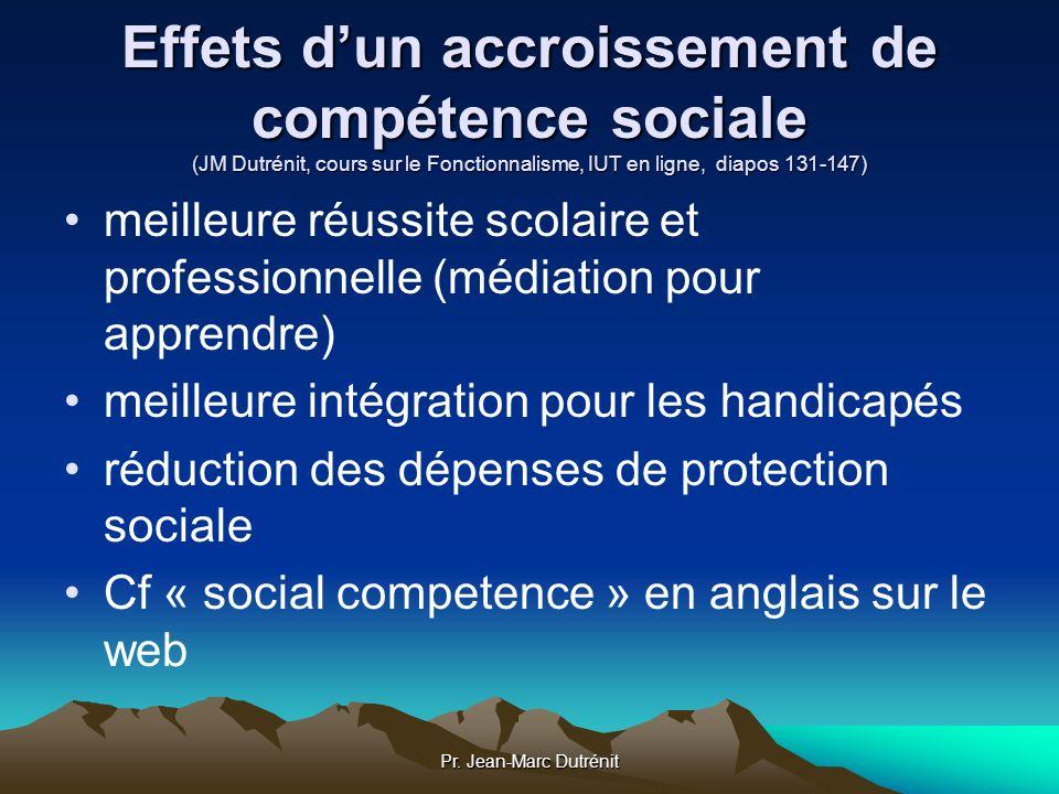 Effets d'un accroissement de compétence sociale (JM Dutrénit, cours sur le Fonctionnalisme, IUT en ligne, diapos 131-147)
