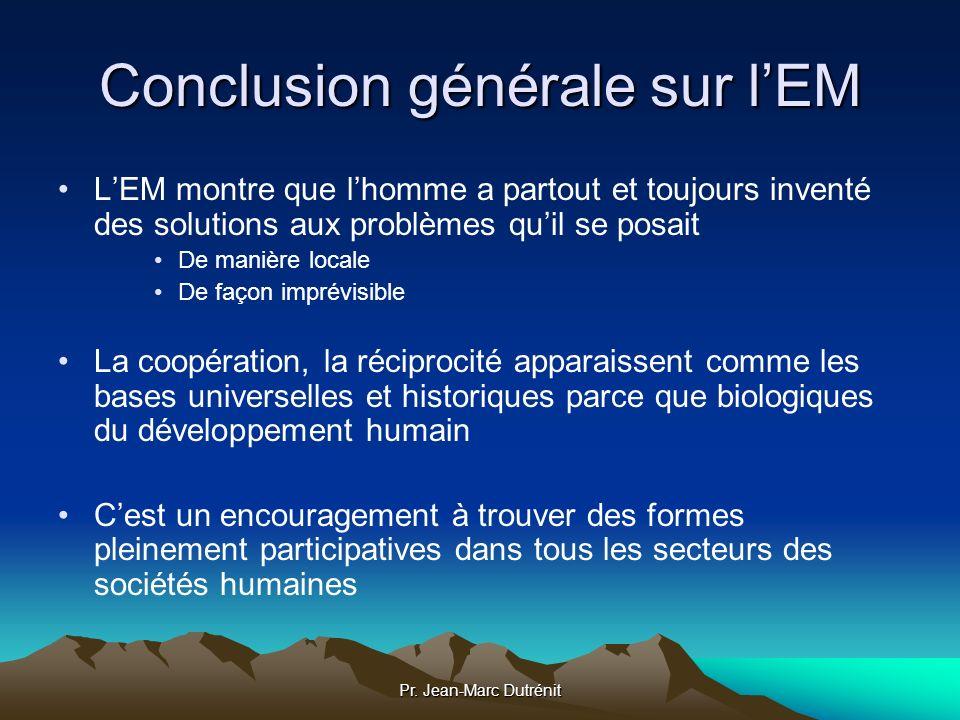 Conclusion générale sur l'EM