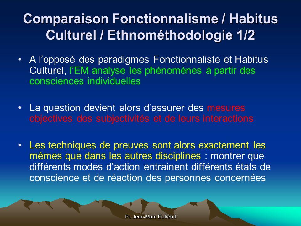 Comparaison Fonctionnalisme / Habitus Culturel / Ethnométhodologie 1/2