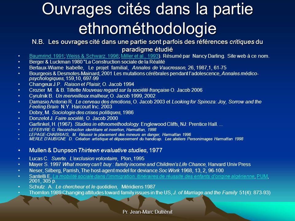 Ouvrages cités dans la partie ethnométhodologie N. B