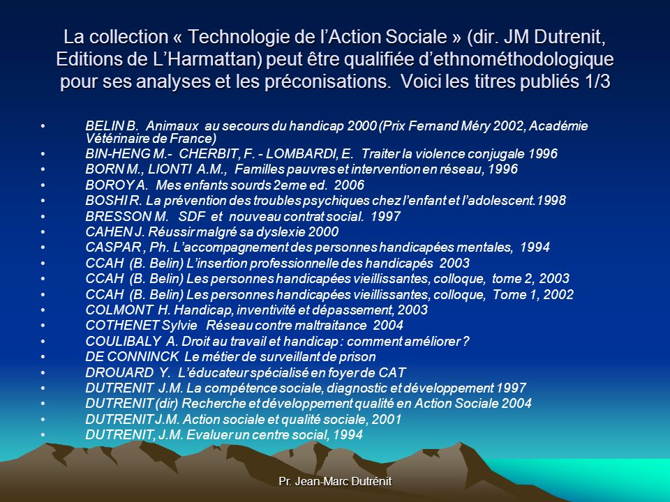 La collection « Technologie de l'Action Sociale » (dir