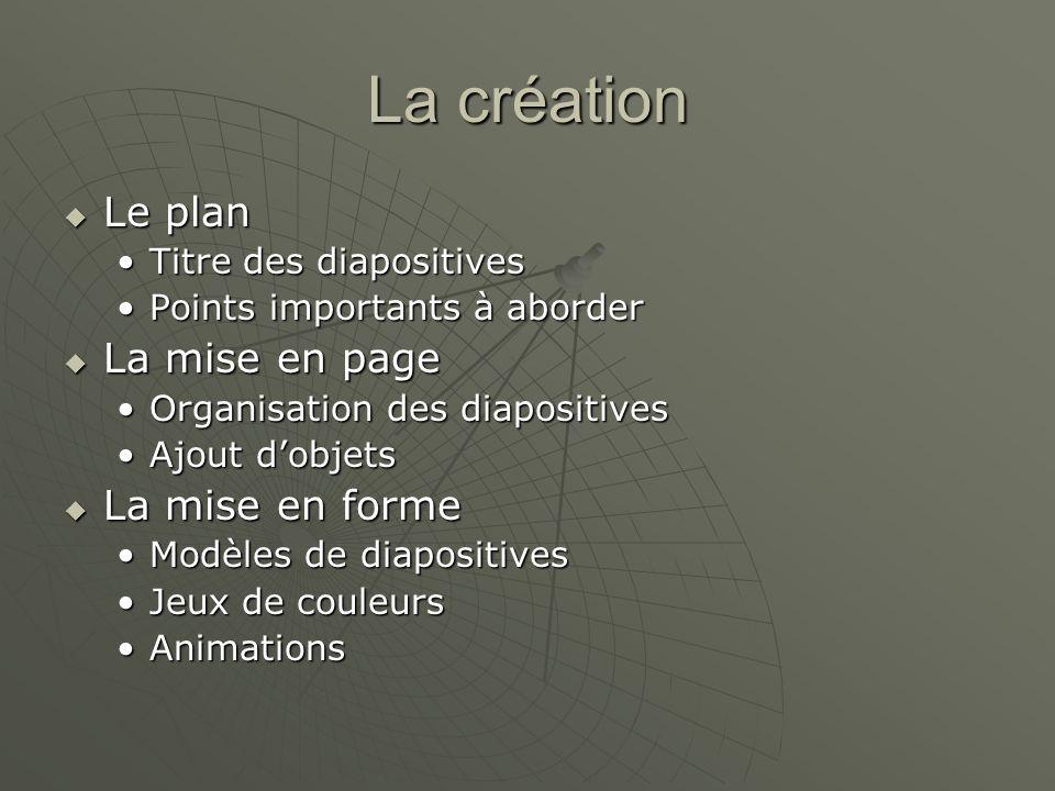 La création Le plan La mise en page La mise en forme