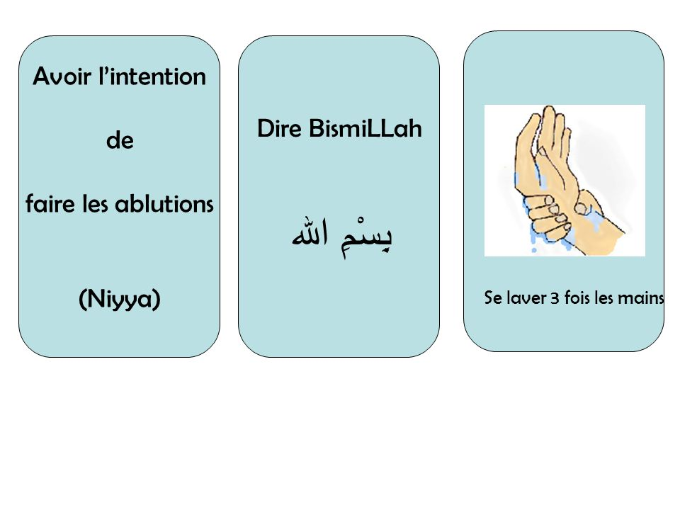 بِسْمِ الله Avoir l'intention Dire BismiLLah de faire les ablutions