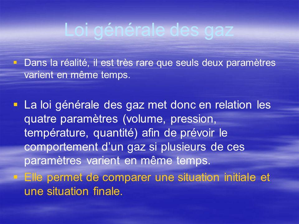 Loi générale des gazDans la réalité, il est très rare que seuls deux paramètres varient en même temps.