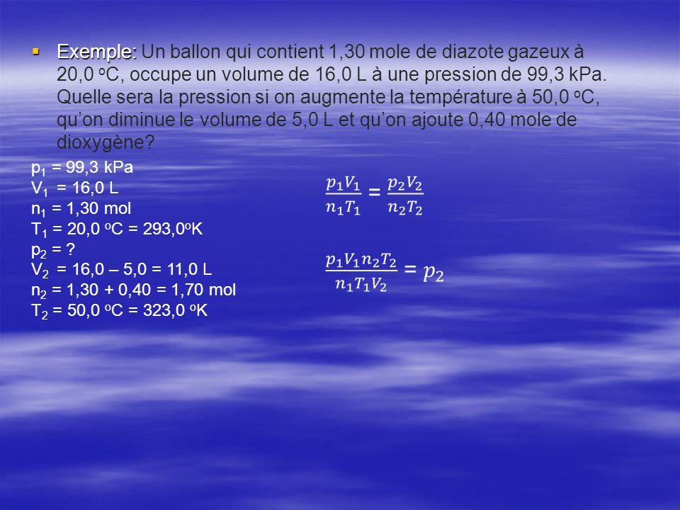 Exemple: Un ballon qui contient 1,30 mole de diazote gazeux à 20,0 oC, occupe un volume de 16,0 L à une pression de 99,3 kPa. Quelle sera la pression si on augmente la température à 50,0 oC, qu'on diminue le volume de 5,0 L et qu'on ajoute 0,40 mole de dioxygène