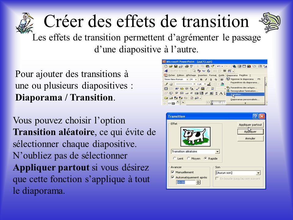 Créer des effets de transition Les effets de transition permettent d'agrémenter le passage d'une diapositive à l'autre.