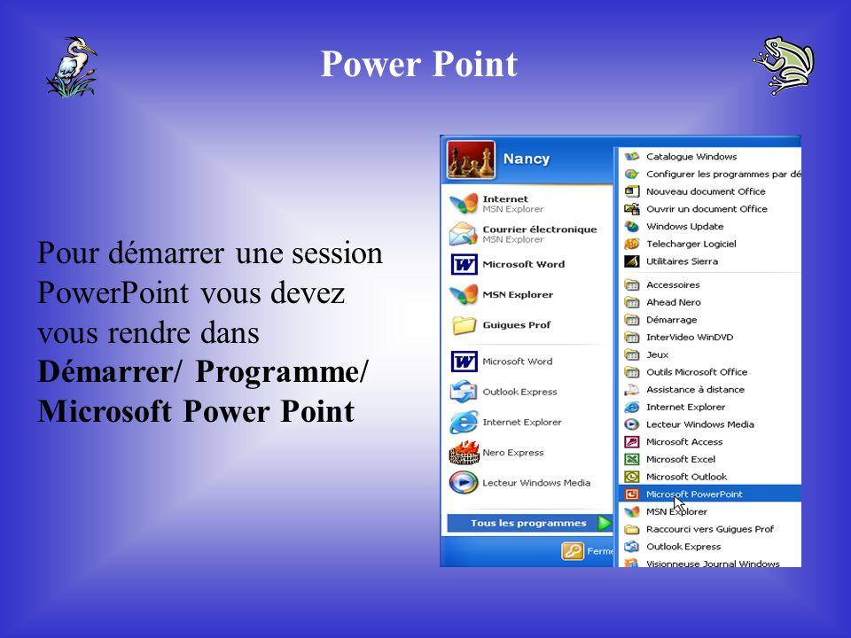 Power Point Pour démarrer une session PowerPoint vous devez vous rendre dans Démarrer/ Programme/ Microsoft Power Point.