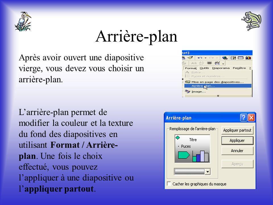 Arrière-plan Après avoir ouvert une diapositive vierge, vous devez vous choisir un arrière-plan.