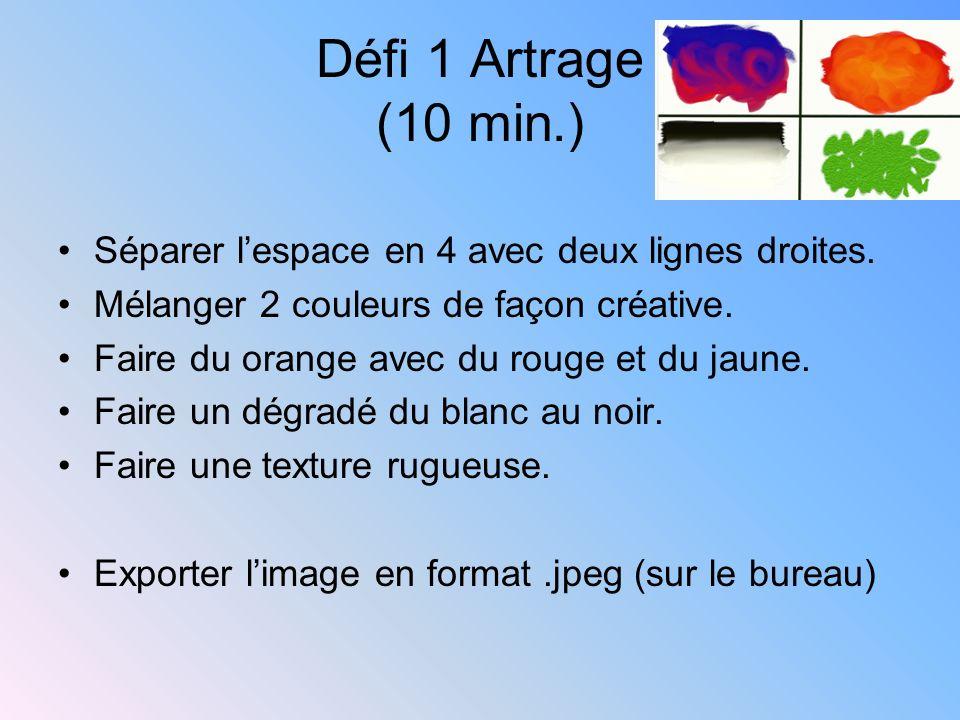 Défi 1 Artrage (10 min.)Séparer l'espace en 4 avec deux lignes droites. Mélanger 2 couleurs de façon créative.