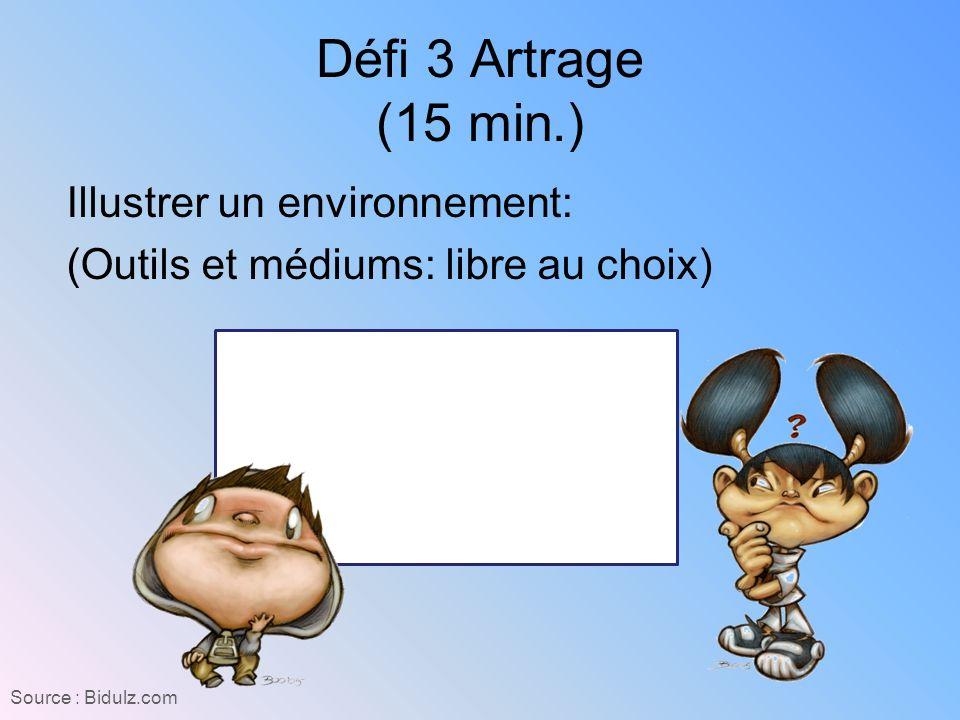 Défi 3 Artrage (15 min.) Illustrer un environnement: