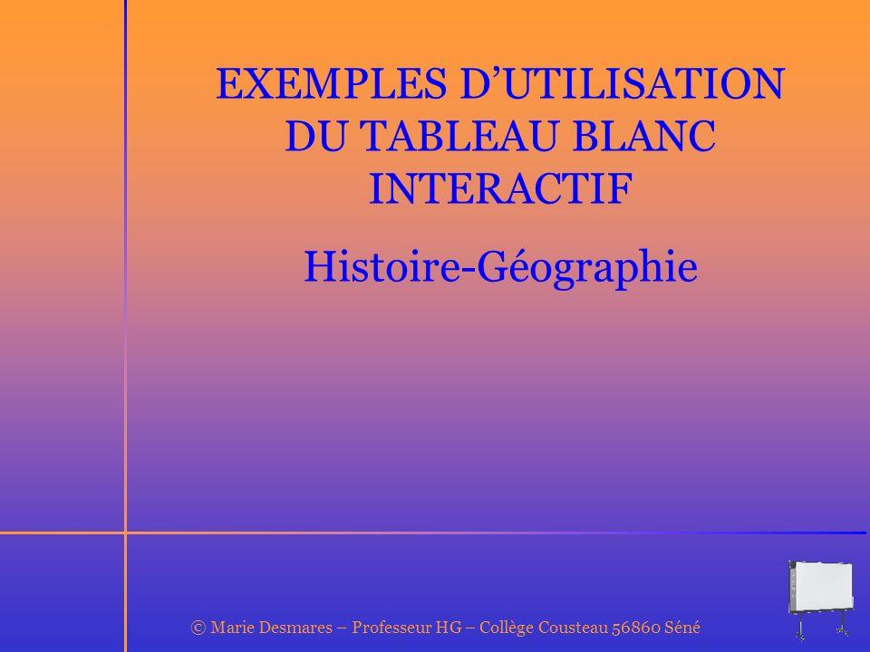 EXEMPLES D'UTILISATION DU TABLEAU BLANC INTERACTIF