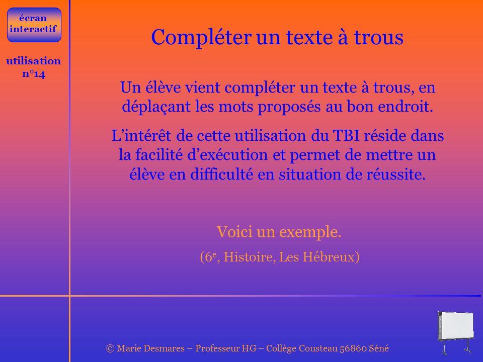 Compléter un texte à trous