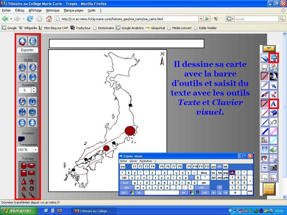 Il dessine sa carte avec la barre d'outils et saisit du texte avec les outils Texte et Clavier visuel.