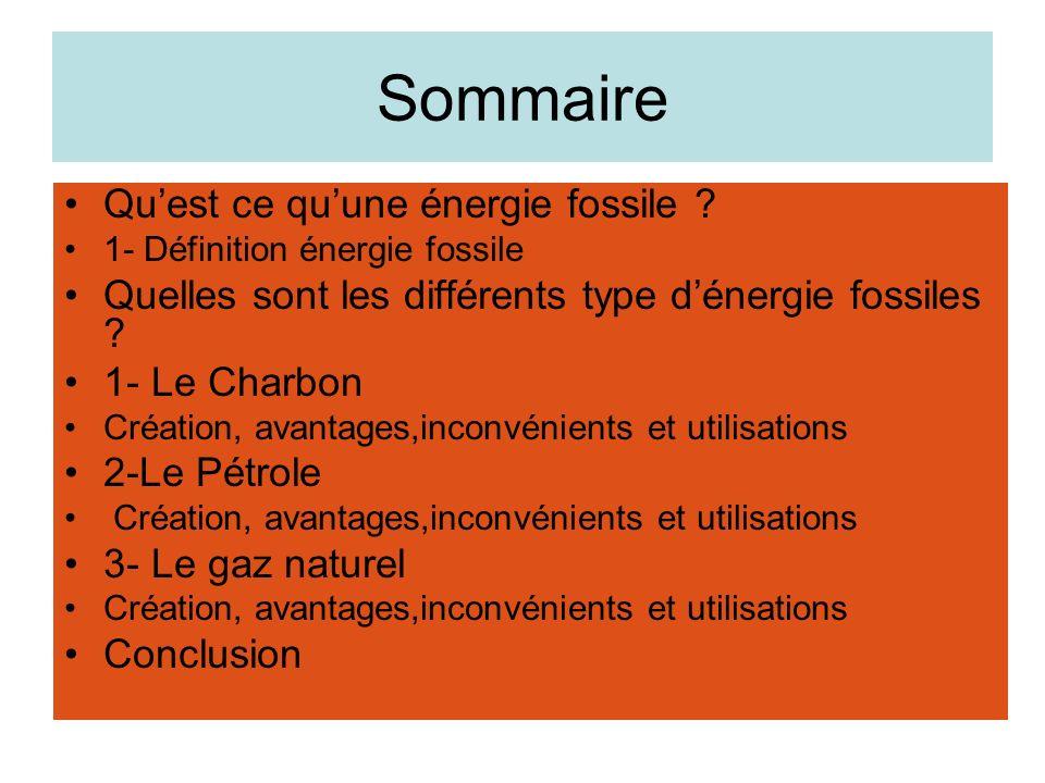 Sommaire Qu'est ce qu'une énergie fossile