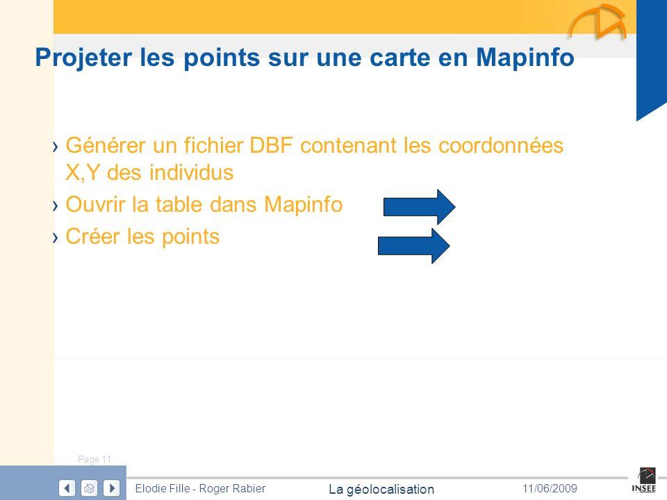 Projeter les points sur une carte en Mapinfo