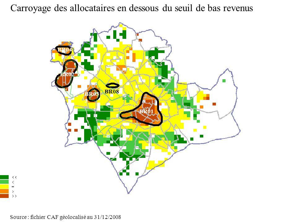 Carroyage des allocataires en dessous du seuil de bas revenus