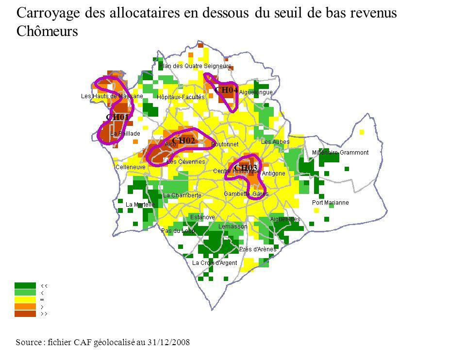 Carroyage des allocataires en dessous du seuil de bas revenus Chômeurs
