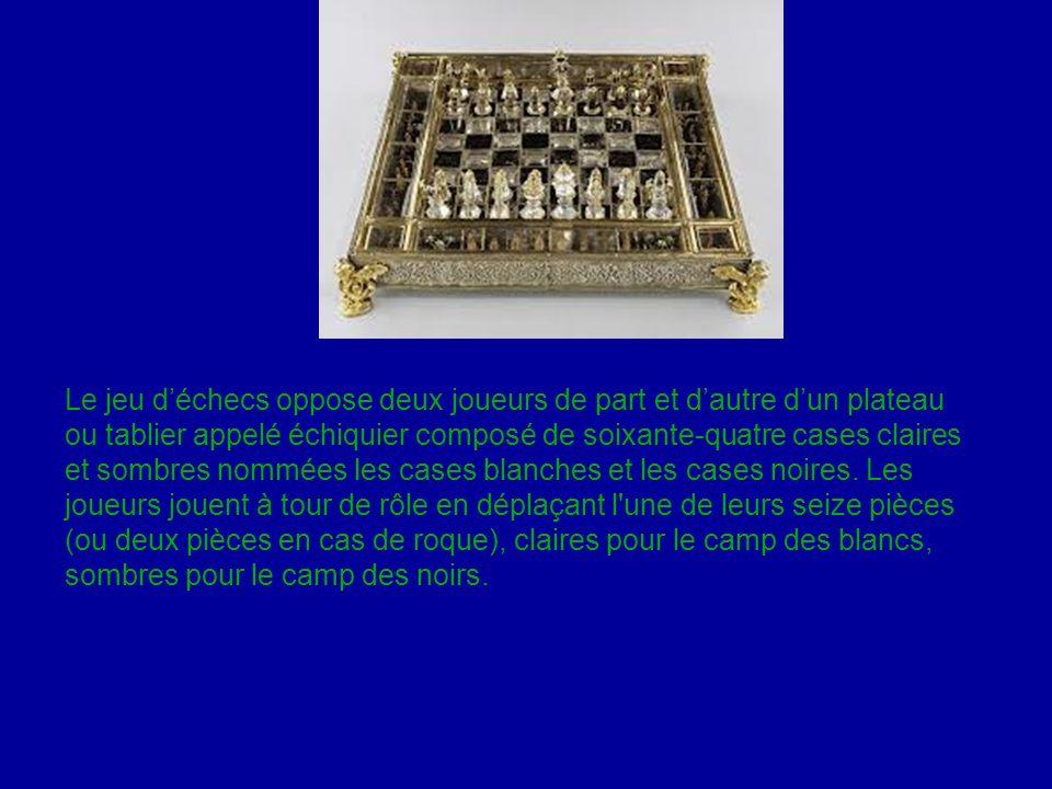 Le jeu d'échecs oppose deux joueurs de part et d'autre d'un plateau ou tablier appelé échiquier composé de soixante-quatre cases claires et sombres nommées les cases blanches et les cases noires.
