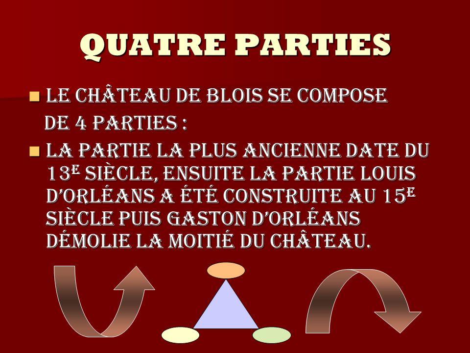 QUATRE PARTIES Le château de Blois se compose de 4 parties :