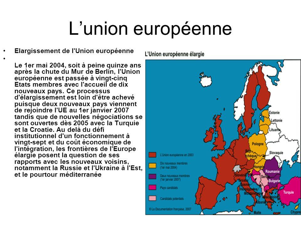 L'union européenne Elargissement de l Union européenne